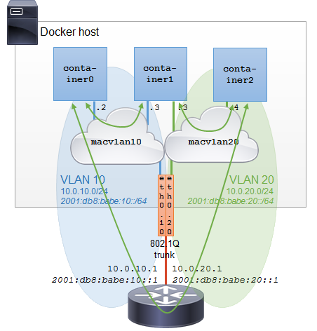 Docker Macvlan Bridge on VLAN 802.1Q trunk